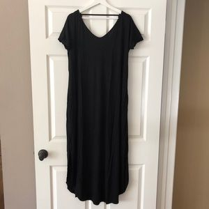 Black Jersey V Back Maxi Dress with Side Slits. L